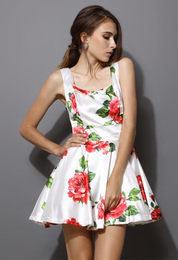 dress red white rose floral skater dress sleeveless chic blogger