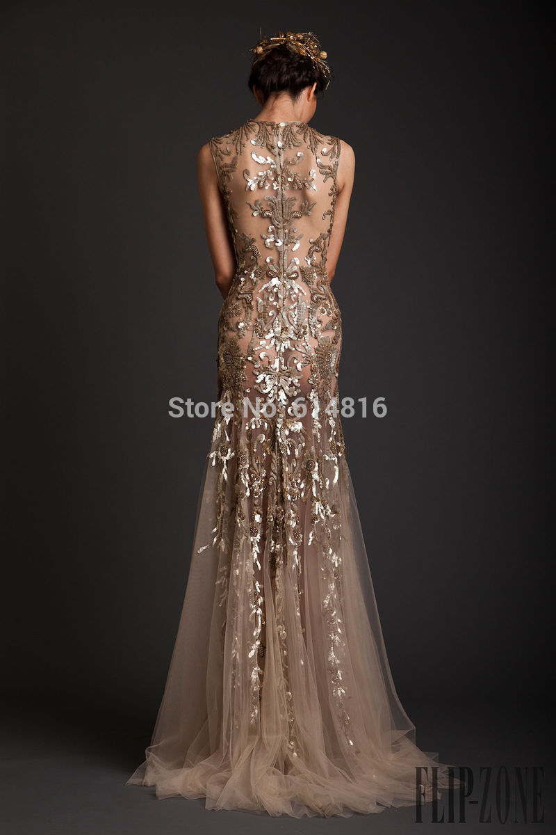 Aliexpress.com : Buy Glamorous Noble O neck Sleeveless Sheer With Gold Sequined Tulle Long A line Coffee Prom Dresses 2014 Vestidos De Festa from Reliable sheer bolero suppliers on Suzhou Babyonlinedress Co.,Ltd