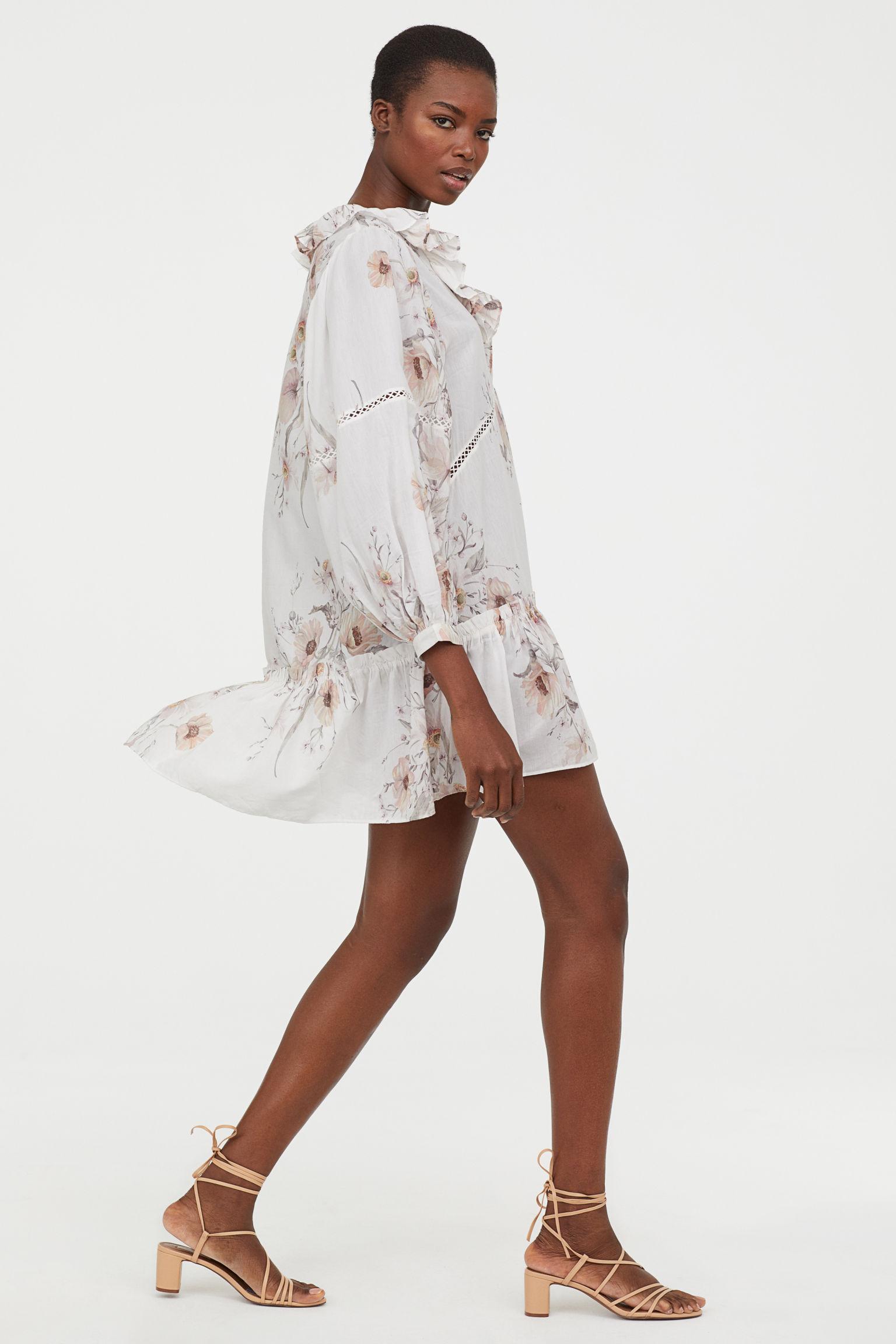 Flounced Dress - White/floral - | H&M US