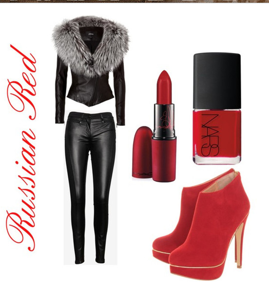 jacket faux winter suede russian red black leather leather pants grey fur nail polish red lipstick late afternoon