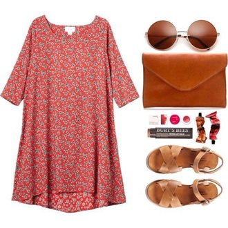 dress pretty beautiful shift shft dress floral red fashion style summer summer outfits sunglasses boho bohemian boho dress boho chic bohemian dress outfit funny patterned dress