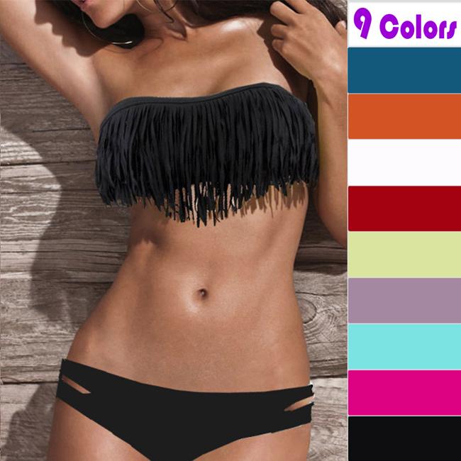 Padded Boho Fringe Bandeau Bikini Strapless Tassels Top and Low Rise Bottoms | eBay