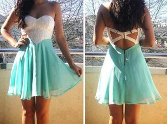 dress mint strapless dress lace white cross back purple