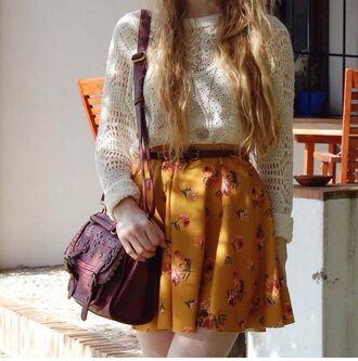 skirt mini skirt mustard flowers floral fashion style outfit floral skater skirt flowered skirt mustard skirt shirt