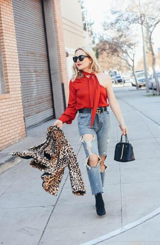 thehuntercollector blogger top belt coat shoes bag sunglasses jewels animal print handbag ankle boots red top spring outfits gucci belt