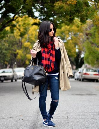 shoes red plaid scarf trench coat black sweater ripped jeans nike sneakers black bag blogger