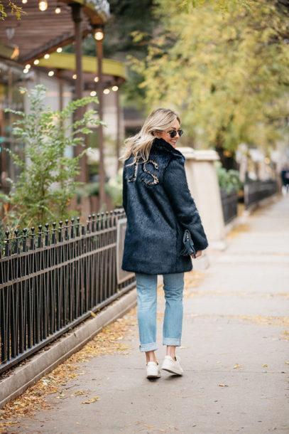coat monogrammed navy navy coat fur coat faux fur coat denim jeans blue jeans customized