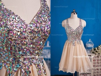 dress glitter shiny diamonds natural beige