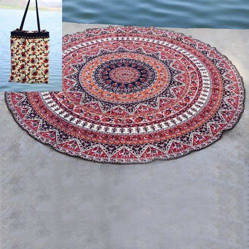 Indian Mandala Roundie Beach Throw Tapestry