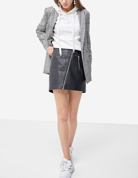 Stradivarius skirt leather skirt zip leather black