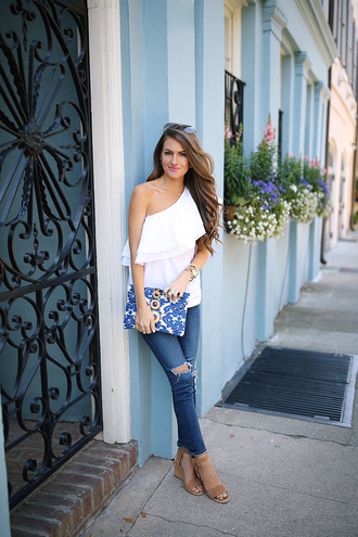 southern curls and pearls blogger top jeans bag shoes jewels make-up clutch one shoulder blouse wedges