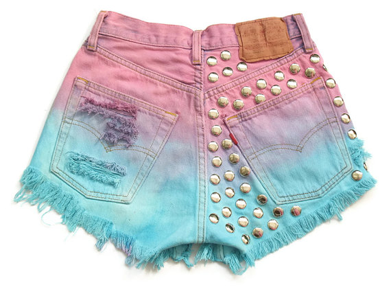 Ombre dip dyed and studded high waist shorts par deathdiscolovesyou