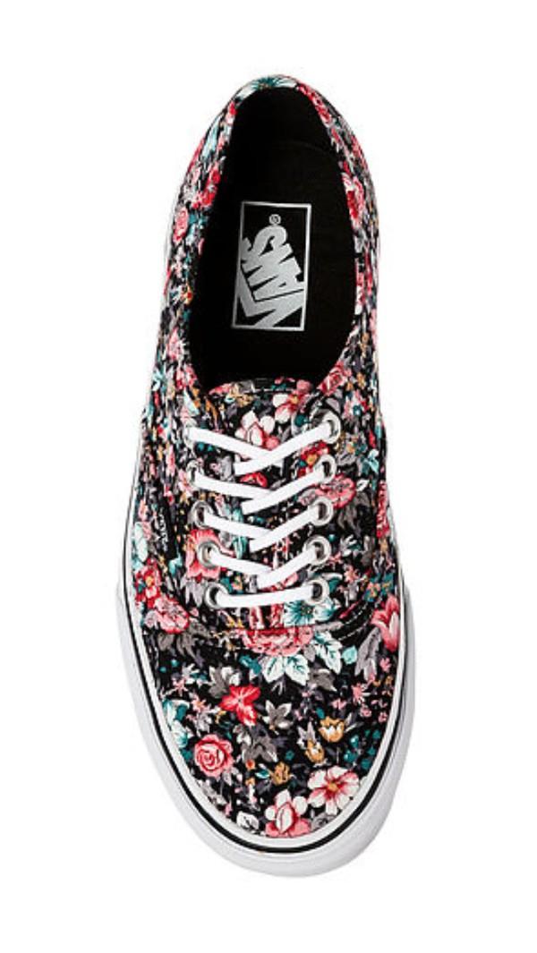 shoes vans vans of the wall fleuri cute dress flowers girly cream sweet nice