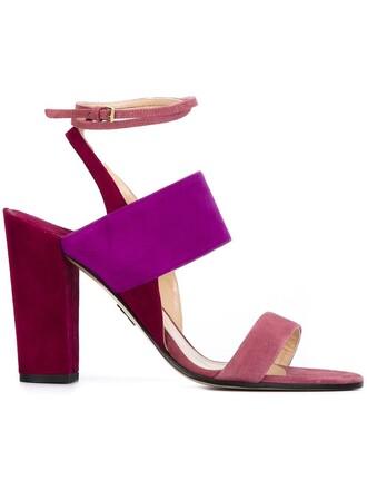 heel chunky heel sandals purple pink shoes