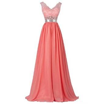 Amazon.com: Bonnie clothing Women's V Neck Lace Long Chiffon Bridesmaid Prom Wedding Party Dress: Clothing