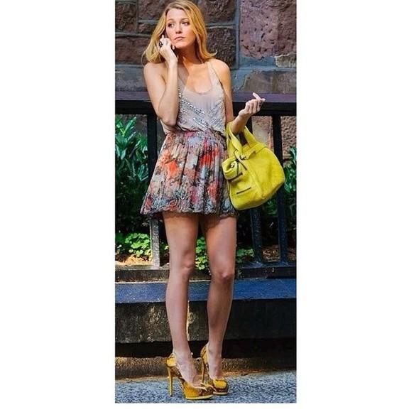 bag top skirt shoes blake lively gossip girl