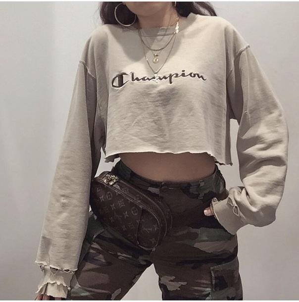 shirt champion cropped sweater cropped long sleeve crop top louis vuitton bag