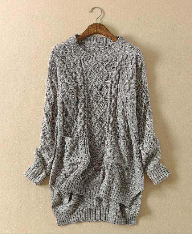 Fashion hot grey cute irregular sweater