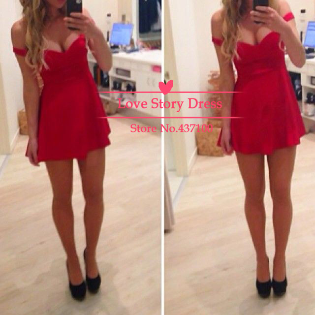 Aliexpress.com : buy hot&sexy off the shoulder mini short red chiffon prom dresses open back cocktail party dress for girls new fashion 2014 from reliable dress wedding suppliers on suzhou lovestorydress co. , ltd
