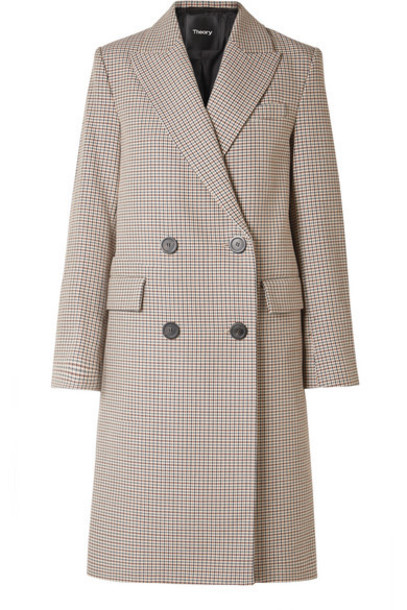 Theory - Genesis Double-breasted Houndstooth Cotton And Wool-blend Coat - Beige
