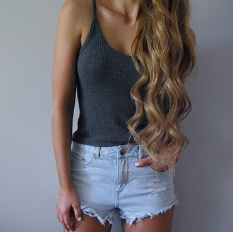 shorts denim shorts summer outfits top casual grey fashion summer style trendy clothes tank top tan rose wholesale-jan