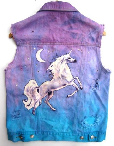 бренд unicorn jacket pastel pastel goth pastel pink pastel jacket denim vest