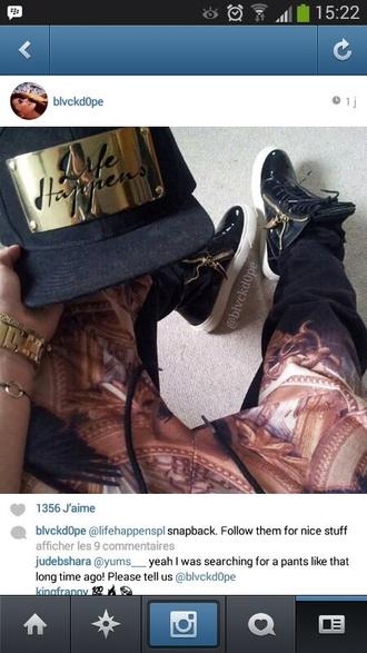 pants snapback gold harem pants shoes high top sneakers giuseppe zanotti joggingpants hat