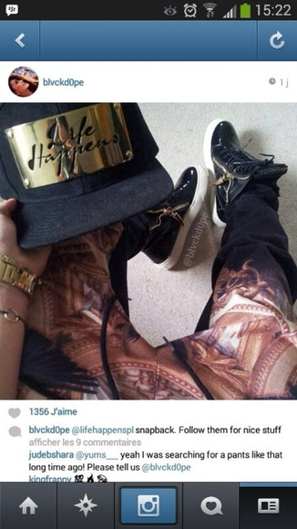shoes giuseppe zanotti pants snapback snapback hat gold harem pants high top sneaker joggingpants hat