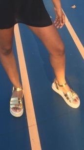 shoes,metallic,sandals,gold sandals,flatforms