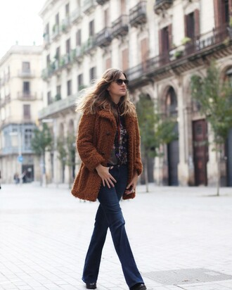 my daily style blogger hippie 70s style fuzzy coat winter coat coat jeans blouse bag