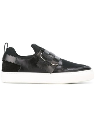 women sneakers leather suede black neoprene shoes