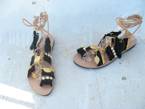 Boho Sandals Leather Gladiator Sandals Black   Gold Kirki  Womens ... 0a4784edc9