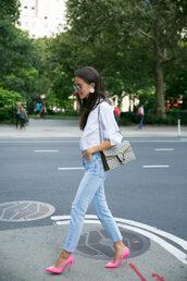 top,gucci bag,tumblr,white top,denim,jeans,blue jeans,pumps,pointed toe pumps,bag,gucci,shoes