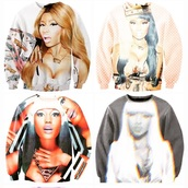 sweater,nicki minaj crew neck