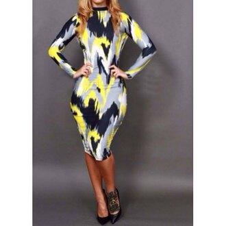 dress bodycon dress backout dress multi colored dress knee length dress