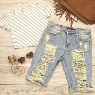 top crop tops stripes striped crop top shorts denim denim shorts bermuda shorts