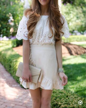 top tumblr white top off the shoulder off the shoulder top skirt mini skirt nude skirt wrap ruffle skirt wrap skirts wrap skirt ruffle eyelet top eyelet detail