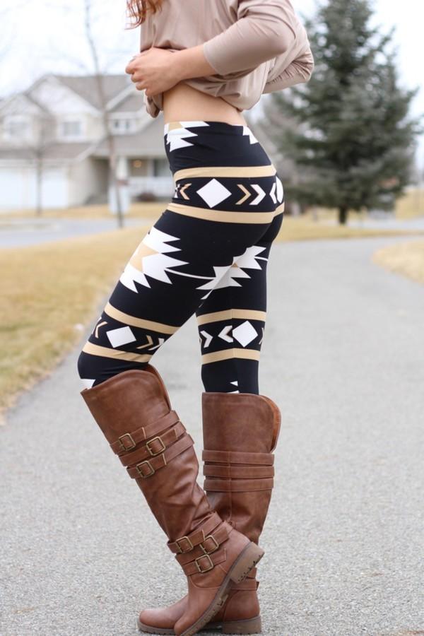 leggings black aztec white beige