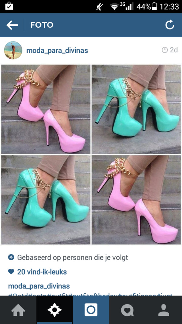 shoes high heels mint green heels pink heels golden chain fancy heels