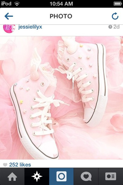shoes pink converse stars heart wings lace converse kawaii wings baby pink