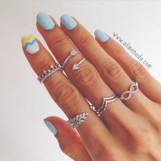 ring rings and tings nail polish jewels jewelry silver ring knuckle ring arrow infinity
