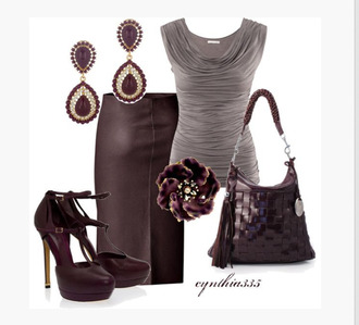 blouse top shirt grey grey top gathered top sleeveless scoop neck skirt pleather skirt earrings heels high heels ankle strap ankle strap platform t-strap platform t-strap ankle strap platform dark plum heels bag purse clothes outfit