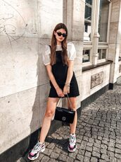dress,sneakers,black overalls,overalls,top,sunglasses
