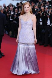 dress,jessica chastain,cannes,lilac,red carpet dress,gown,prom dress,maxi dress