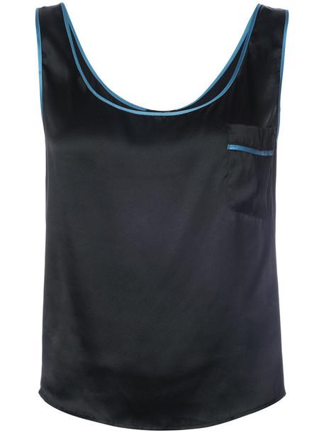 MORGAN LANE tank top top women black silk