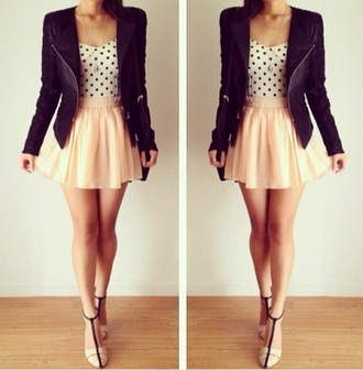 jacket leather jacket blazer skirt black and white polka dots shirt blouse high heels cute summer outfits shoes dress