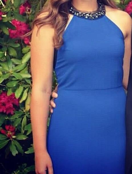 dress blue dress high collar dress karsen style blue bcbgeneration