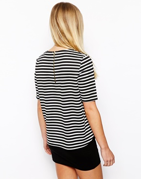New Look Petite | New Look Petite Textured Stripe Boxy Tee at ASOS