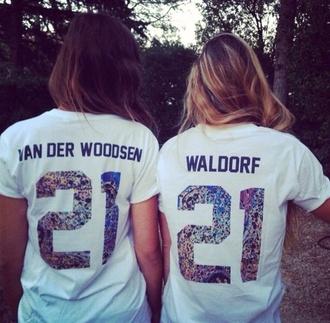 t-shirt gossip girl serena van der woodsen blair waldorf shirt