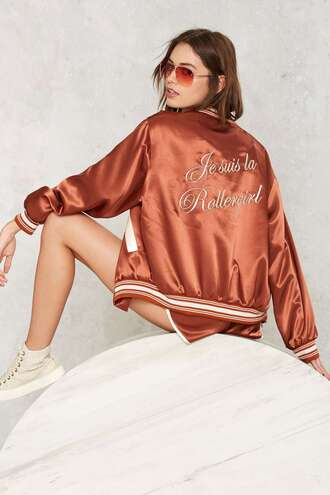 jacket quote on it bomber jacket satin bomber brown